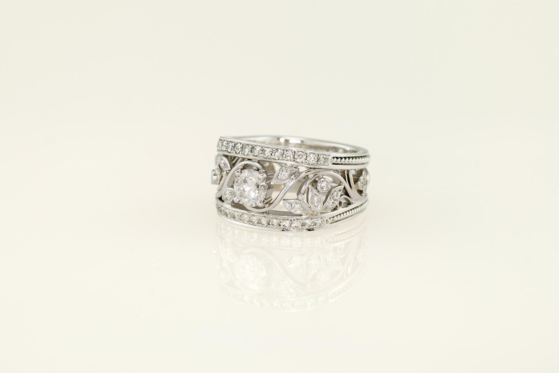 Handcrafted Diamond Custom Made Platinum Leaf and Vine Ring - NEWA Goldsmtih