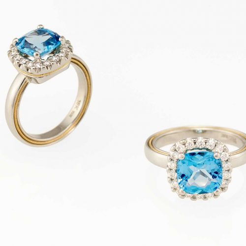 2 tone 18k & 19k white gold custom blue topaz halo ring - NÉWA Goldsmith