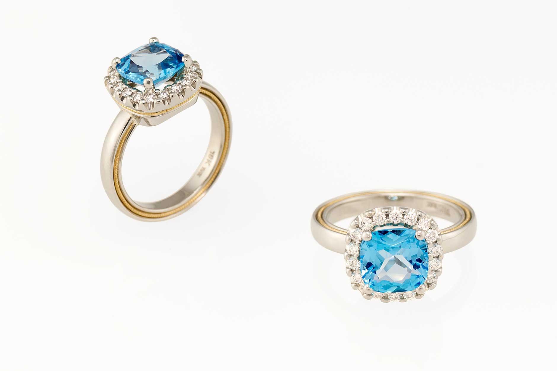 2 tone 18k & 19k white gold custom blue topaz halo ring - NÉWA Goldsmith